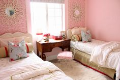 love those beds, the mirrors, the wallpaper, white rug. two twin beds! i think this set up is it!