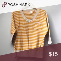 Mustard Striped V-Neck Sweater Semi-crop sweater top with 3/4 sleeves and v-neck; oatmeal cream with mustard stripes and pocket detail. In excellent pre-loved condition. Mossimo Supply Co. Sweaters