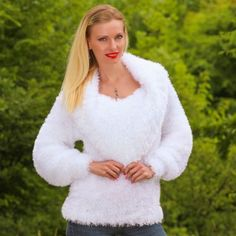 WHITE Hand Knitted Decofur Sweater Non Mohair Top Cowlneck Blouse SUPERTANYA S M