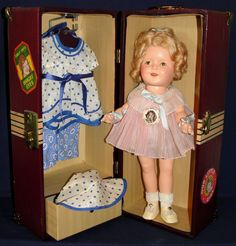 """Amazing Near Mint 1930's 13"""" Shirley Temple Doll w/ Wardrobe and Trunk"""