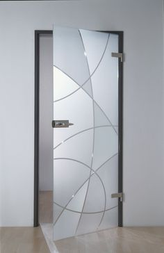 A glass door with bright or private glass is robust and available in any size and budget. The glass leaves the daylight free. Glass Sticker Design, Frosted Glass Design, Frosted Glass Door, Etched Glass Door, Bathroom Doors, Glass Bathroom, Shower Doors, Glass Barn Doors, Sliding Glass Door