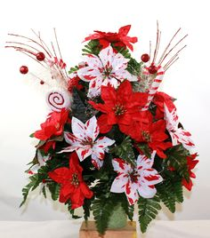 Beautiful White And Silver Poinsettia's Christmas Cemetery Flower Arrangement by Crazyboutdeco on Etsy