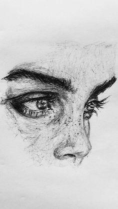 (Notitle) - Dessin au crayon - Drawing - # (N . Cool Art Drawings, Pencil Art Drawings, Realistic Drawings, Art Drawings Sketches, Drawings Of Faces, Pencil Sketching, Sketch Art, Easy Drawings, Arte Sketchbook