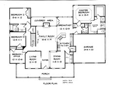 First Floor Plan of Country   House Plan 58190