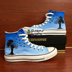 eb1109ab90 Converse Shoes The Beatles Blackbird Song Hand Painted Canvas Sneakers. Converse  All StarConverse ...