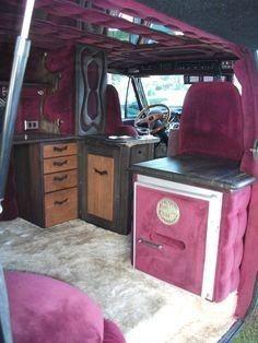 Custom Van Interior, Bus Interior, Campervan Interior, Interior Ideas, Customised Vans, Custom Vans, Ram Van, Van Dwelling, Dodge Van