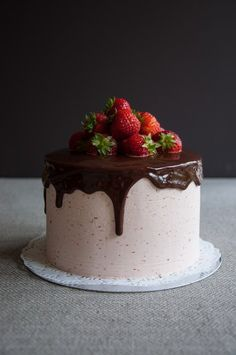 Photograph of Strawberry and Ganache Glaze Cake baked by Jane.