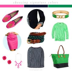 Pink, navy, and green - my preppy signature colors. What are your signature colors?