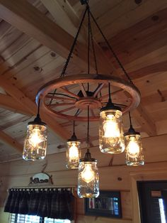 Mason jar chandelier - All For Decoration Mason Jar Chandelier, Wagon Wheel Chandelier, Rustic Chandelier, Mason Jar Lighting, Cabin Lighting, Farmhouse Lighting, Rustic Lighting, Blue Mason Jars, Mason Jar Diy