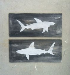 SHARK WOOD SIGNS  Nautical Home Decor  Beach House Art  Reclaimed Wood  Sharks