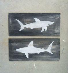 SHARK WOOD SIGNS Nautical Home Decor Beach House by KellyAvenue, $39.99