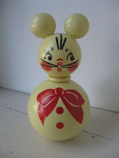 Celluloid Roly Poly Toy Mouse 1930s by bigfishlilpond on Etsy, $60.00