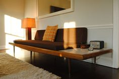 day bed w table Mid Century Couch, Mid Century Furniture, Wood Furniture, Furniture Ideas, Sofa Daybed, Adrian Pearsall, Side Tables, Furnitures, Attic