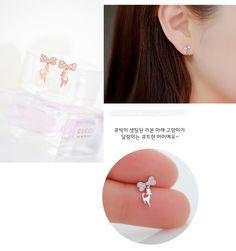 Korea new 925 sterling silver diamond bow earrings sweet fashion kitten small fresh female hypoallergenic - Taobao Taiwan, omnipotent Taobao