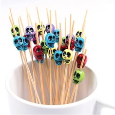 50 Pcs Disposable Skull Bamboo Stick Skewers – Everything Skull Clothing Merchandise and Accessories Party Buffet, Appetizer Display, Dessert Recipes, Desserts, Skewers, Mini Burgers, Food Picks, Sandwiches, Cocktails