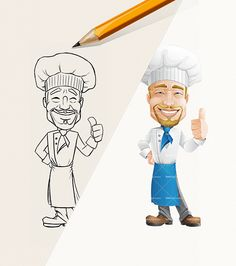 Chef Character - from sketch to 100 poses: http://tooncharacters.com/male-cartoon-characters/cheerful-chef-cartoon-character/