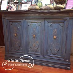 Cabinet with fold-out bar, embellished with Wood Icing™ and painted with Chalk Paint® at Artistic Home Studio  Boutique, Alameda, CA.
