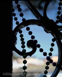 Mardi Gras Bead and Ironwork Silhouette Photograph in the French Quarter, New Orleans