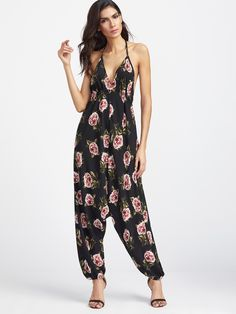 ffaf2fcdaa52 Online shopping for Black Floral Print Halter Neck Harem Jumpsuit from a  great selection of women s fashion clothing   more at MakeMeChic.