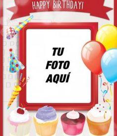 Tarjeta de cumpleaños con marco de fotos rojo, globos y pasteles para - Fotoefectos Amor, Happy Birthday Photos, Happy Birthday Captions, Birthday Photos, Birthday Congratulations, Happy Birthday Cards