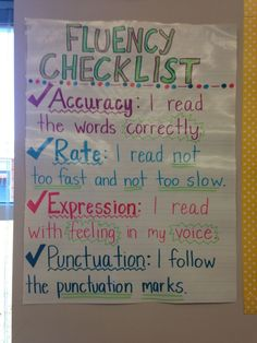 """Reading fluently -checklist- """"Children's ability to read fluently does than make them sound like good readers; it is evidence that they comprehend what they are reading"""" (Worthy & Prater, Reading Fluency Activities, Teaching Reading, Guided Reading, Learning, Educational Activities, Teaching Ideas, Kindergarten Reading, Ela Anchor Charts, Reading Anchor Charts"""