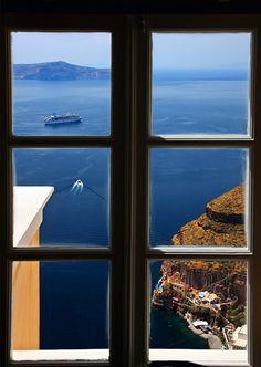 window to the caldera, Santorini, Greece
