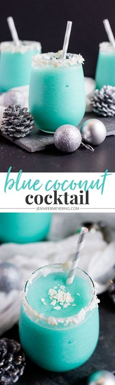 Blue Coconut Cocktail - Vodka, pineapple juice, cream of coconut, and Blue Curacao come together to make a festive and colorful cocktail. -(I think I'd use coconut rum instead of vodka. Cocktails Vodka, Cocktail Drinks, Cocktail Recipes, Summer Cocktails, Martinis, Alcoholic Beverages, Drink Recipes, Drambuie Cocktails, Gastronomia
