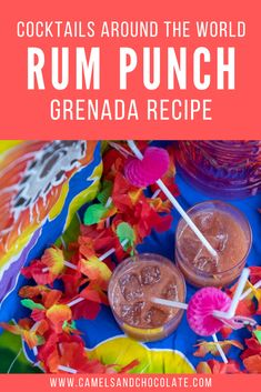 If you are dreaming about tropical Grenada, then this cocktail recipe is for you. This rum punch recipe will take you straight to Grenada, and it is so easy to make. Read my Grenada Rum Punch recipe and transport yourself to the tropical island nation. | Camels Rum Punch Recipes, Cocktail Recipes, Cocktails, Drink Recipes, Alcoholic Drinks, How To Make Rum, We Make Up, Caribbean Vacations, Drink Dispenser