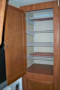 Adventures With Our Lance 1685 Travel Trailer: Upper Left Closet Organizing Shelf System