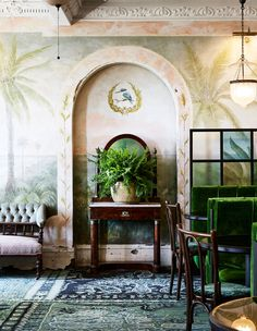 60 Best Ideas Of Tropical Wall Mural For Summer. Popular tropical wall murals create the illusion of paradise in your home. They can bring sunshine and warmth into a room with no windows or help stave. Painted Window Frames, Botanical Interior, The Colony Hotel, Safari, Melbourne Hotel, White Shutters, Pub Design, St Kilda, The Design Files