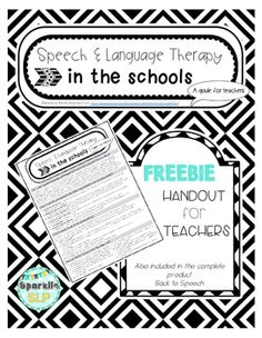 FREEBIE!  This guide for teachers discusses speech and language therapy in the schools.  The information is adapted from ASHA (American Speech-Language-Hearing Association), including http://www.asha.org/public/speech/development/schoolsFAQ/.Compiled by Sparklle SLP