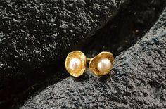 Gold Pearl Stud Earrings,18k gold plated, classic earrings, June birthstone, bridal jewelry, brides earrings, pearl studs, handmade on Etsy, $52.00