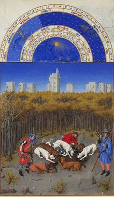 "December — Before the towering high-rises of Château de Vincennes, a wild boar hunt reaches its climax, in this entry for the last month of the year in the ""Labors of the Months"" section of the Très Riches Heures, one of the most important illuminated manuscript of the 15th century."
