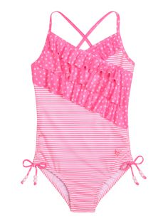 Stripe And Star Ruffle One Piece Swimsuit | One Piece | Swimsuits | Shop Justice