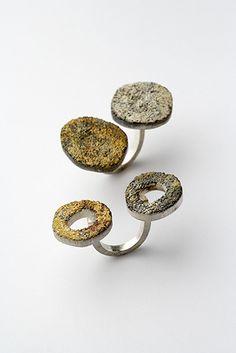 Per SUNTUM - fungi trio #1 & og #3 rings, silver, 24k gold, 2005 -