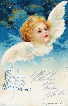 Alte Weihnachtskarten mit Engeln - http://www.postkarten-paradies.net/alte-weihnachtskarten-mit-engeln/