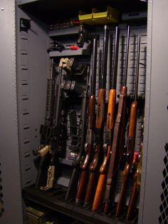 Designed to give you maximum storage flexibility, regardless of your firearm mix so you can instantly see and access your firearms. Outdoor Shooting Range, Shooting Gear, Weapon Storage, Gun Storage, Shotguns, Firearms, Zombie Weapons, Gun Rooms, Fire Fire
