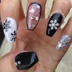 Goes with everything!  #winternails #christmasnails #coffinnails #notd #nailprodigy #snowflakes