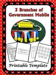 3 Branches of Government Mobile Freebie (Printable Template) 3rd Grade Social Studies, Teaching Social Studies, Teaching Aids, Fourth Grade, Third Grade, Classroom Resources, Classroom Ideas, 3 Branches Of Government, Education Issues