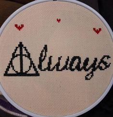 Harry Potter cross stitch KIT including 7 wooden hoop. May be done in colors of your choice (add color choice within comments at time of purchase). KIT INCLUDES: Pattern Color Chart Needle Fabric (off white) Wooden Hoop Floss PACKAGING: We treat each item with triple love,
