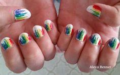 rainbow flare nails