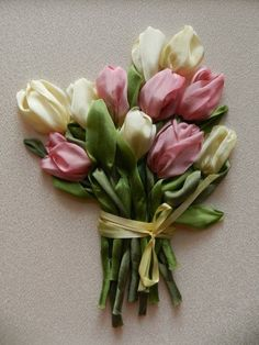 ribbon embroidery, tulips