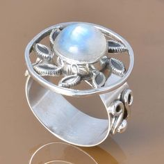 MOONSTONE 925 SOLID STERLING SILVER EXCLUSIVE RING 6.74g DJR7398 #Handmade #Ring