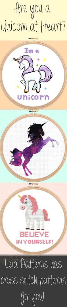"""Leia Patterns Quote Cross Stitch Pattern - I'm a Unicorn - Magical Cute Modern Pattern - PDF - Instant Download """"I'm a Unicorn"""" Cross Stitch Pattern  This is a fun cross stitch pattern of a Unicorn! If you feel that you are truly a unicorn at heart than this pattern is perfect for you! This pattern also makes a great gift for all the unicorns in your life :)  Pattern Specifics: ------------------------ Colors: 11 Floss Colors Size: 6.9 x 5.4 in. / 17.5 x 13.7 cm.  Grid Size: 96 x 75  Canvas…"""