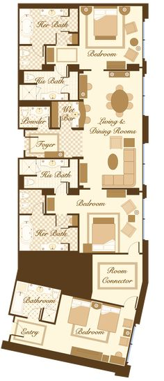 las vegas suite - bellagio penthouse suite floorplan - 2 bedrooms