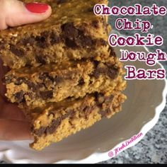 Ripped Recipes - Chocolate Chip Cookie Dough Bars - Healthy high protein chocolate chip cookie dough flourless and gluten free!