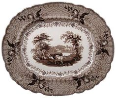 """Park Scenery"" 15.88"" by 13.5"" platter by George Phillips (1834-1847)/This pattern is part of a dinner service that shows various domestic animals (including deer) in the centers of almost each size and shape. The TCC Pattern and Source Print Database illustrates 14 patterns in this series; www.transcollectorsclub.org"