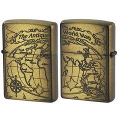 zippo lighter antique world map both sides design 2wm vbi