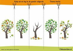 Put the pictures of autumn tree in a logical order, kleuteridee. Brain Based Learning, Kids Learning, Fall Preschool, Preschool Crafts, Weather For Kids, Sequencing Pictures, Pumpkin Birthday Parties, Picture Tree, Folder Games