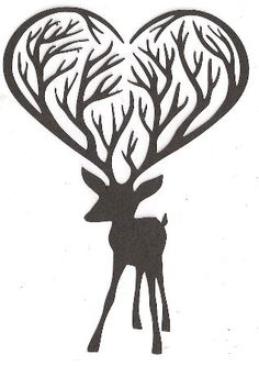 Deer with heart shaped antlers silhouette.